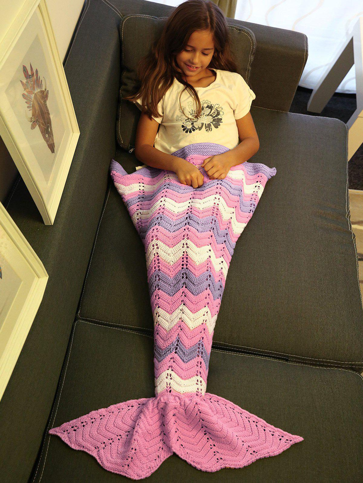 Soft  Knitting Openwork Color Block Mermaid Blanket - PINK