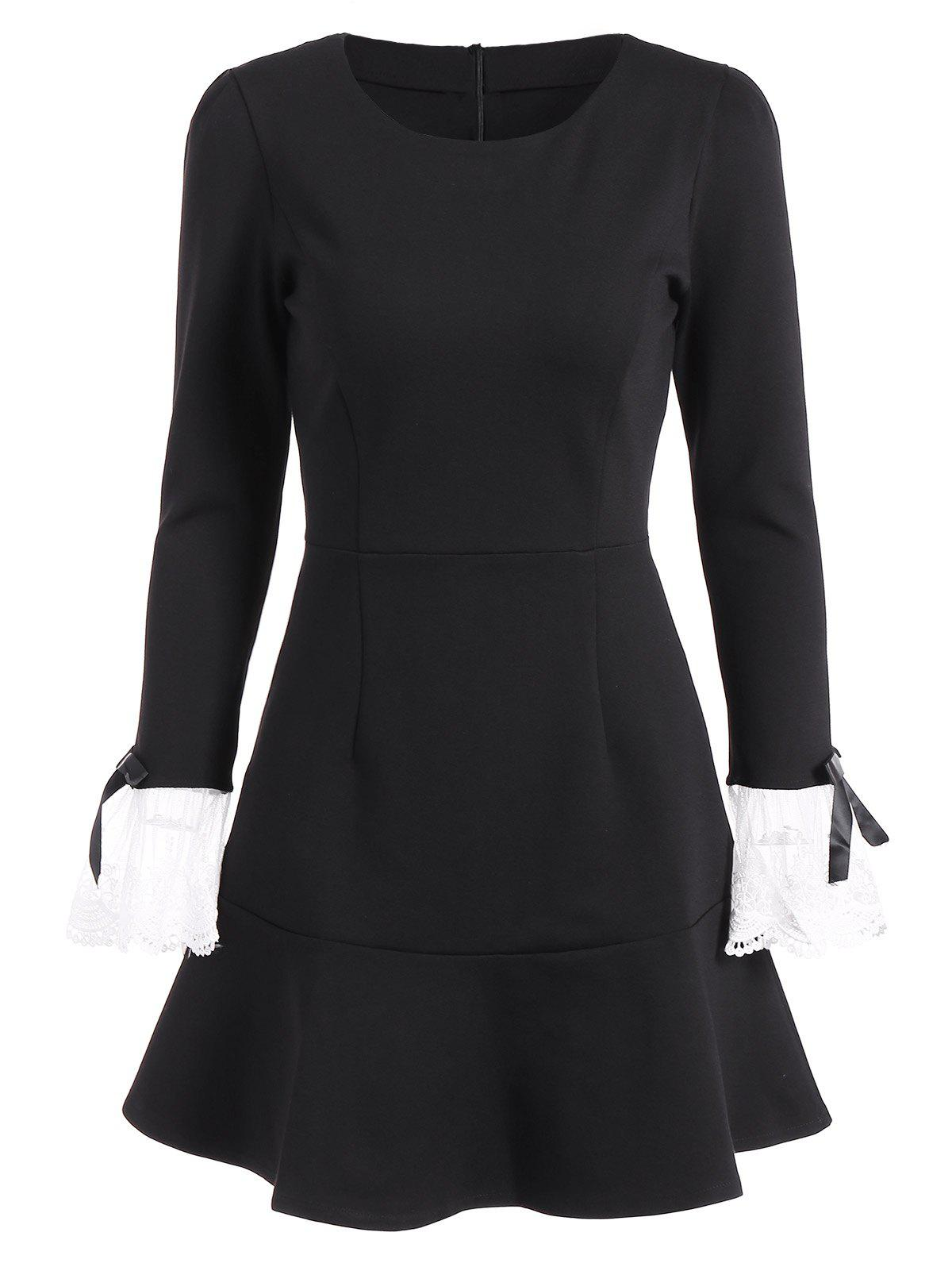 Vintage Mini Flounce Long Sleeve Skater Dress - BLACK 2XL