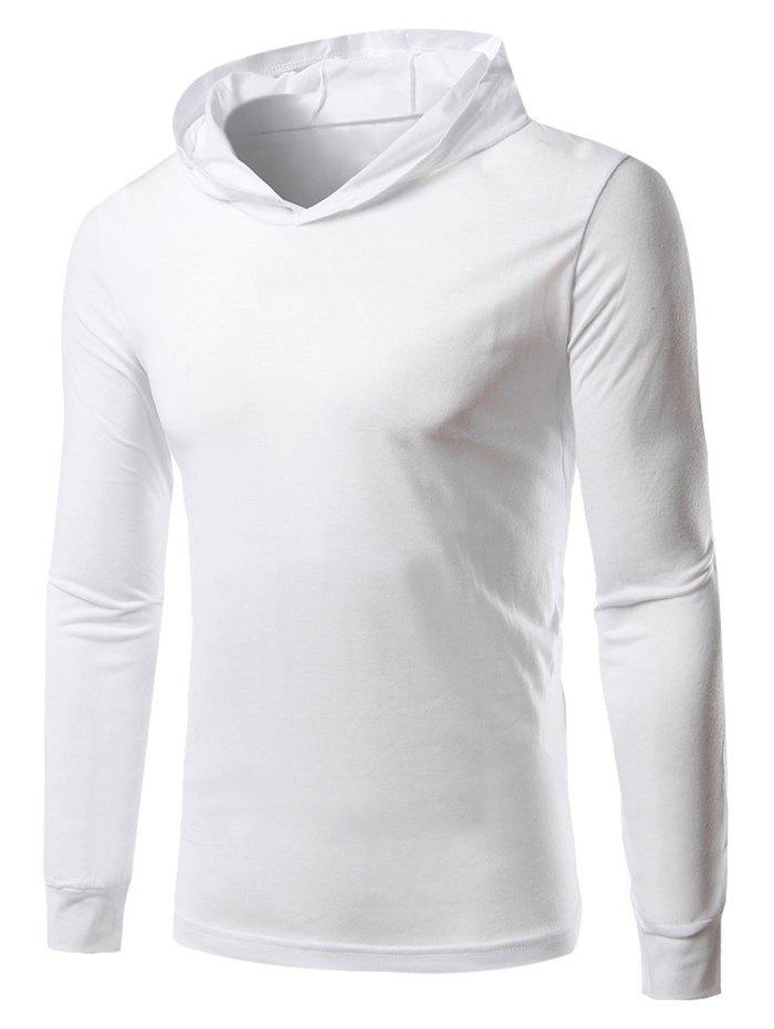 Hooded Long Sleeves Pullover Hoodie - WHITE XL