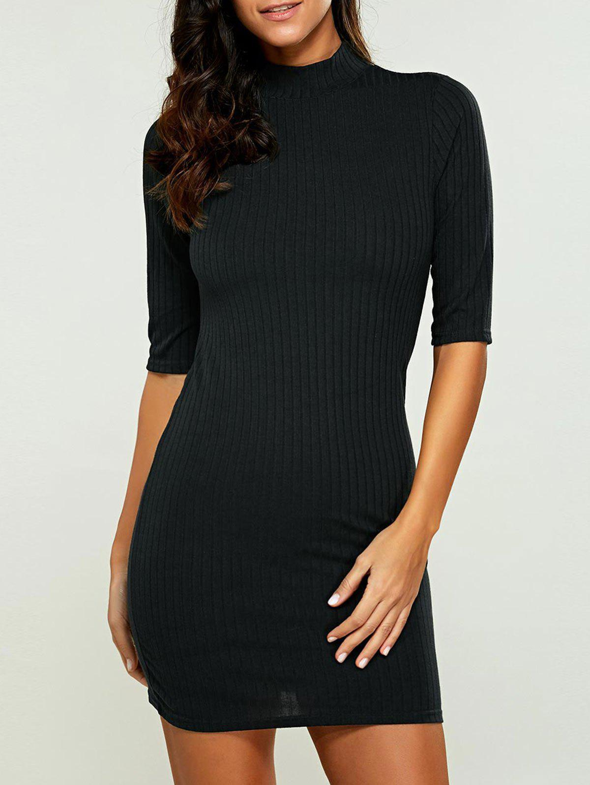 High Neck Bodycon Ribbed Knit T Shirt Dress 196366704