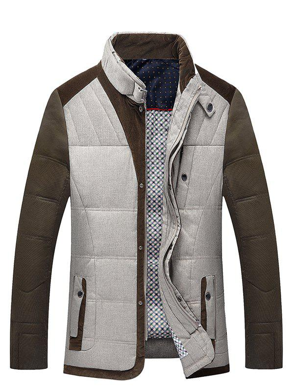 Pied de col Zip-Up Color Block Splicing Down Jacket - Brun L