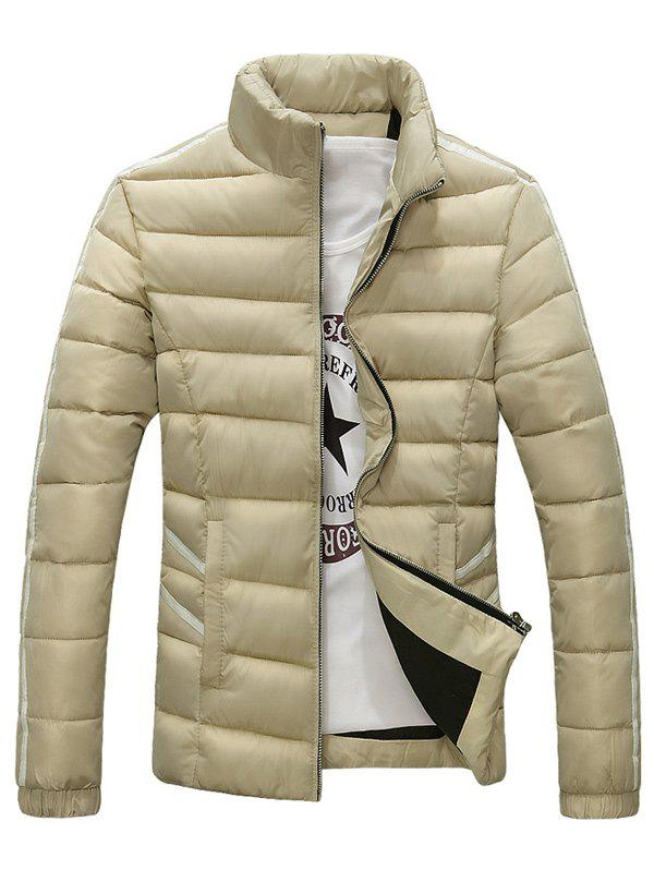 Support Collar Zip-Up Stripe Edging Down Jacket - Abricot L