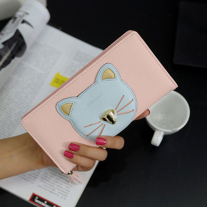 Tassel Cat Head Pattern Clutch Wallet - PINK