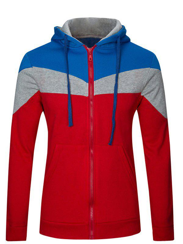 Long Sleeve Color Splicing Zip Up Hoodie - RED 2XL