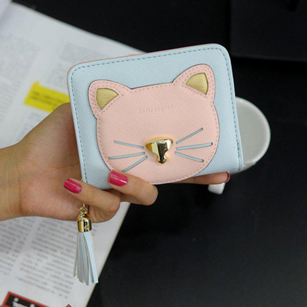 Cat Head Pattern Tassel Small Wallet - BLUE