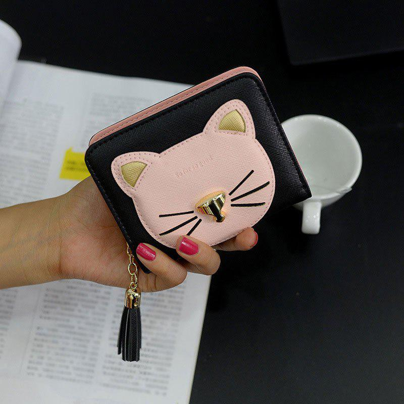 Cat Head Pattern Tassel Small Wallet - BLACK