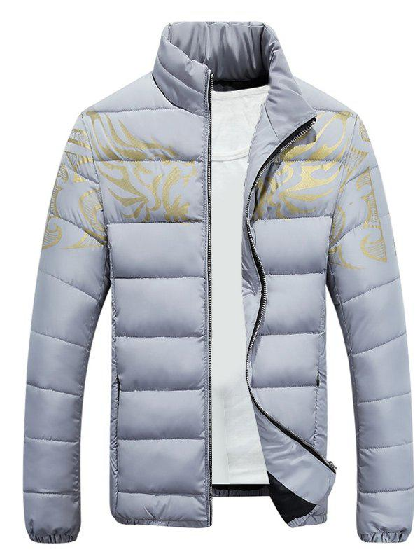 Stands Collar Zip-Up dragon Imprimer Down Jacket - Gris M