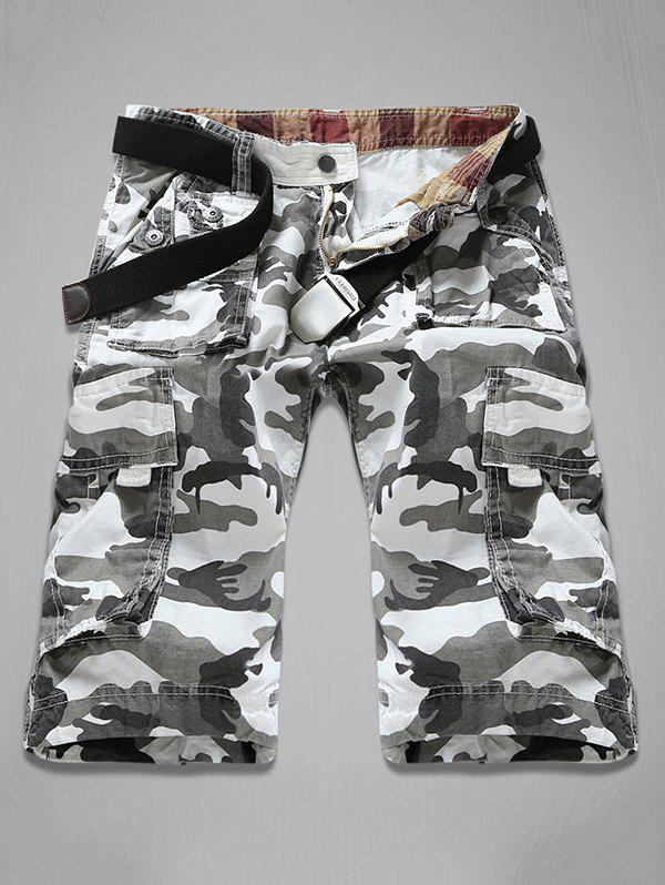 Multi-Pocket Zipper Fly Camouflage Cargo Shorts - Blanc 29