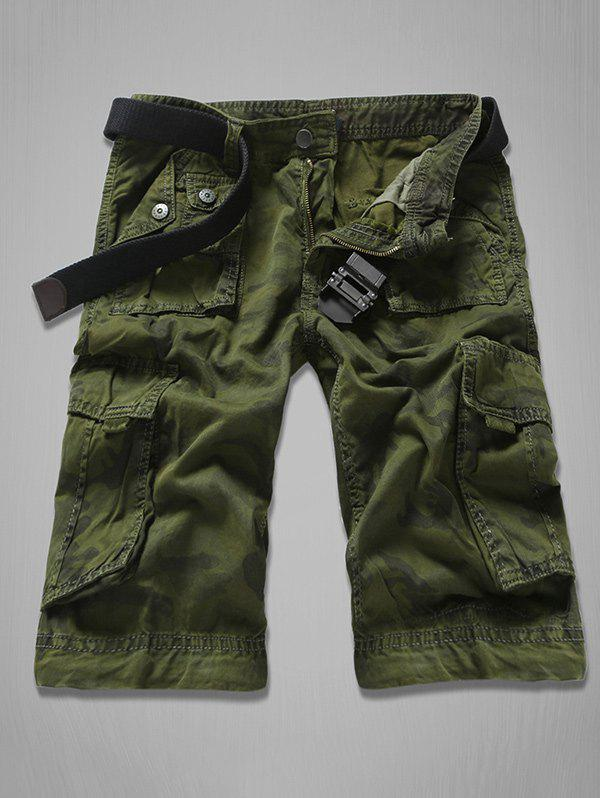 Multi-Pocket Zipper Fly Camouflage Cargo Shorts - Vert Armée 34
