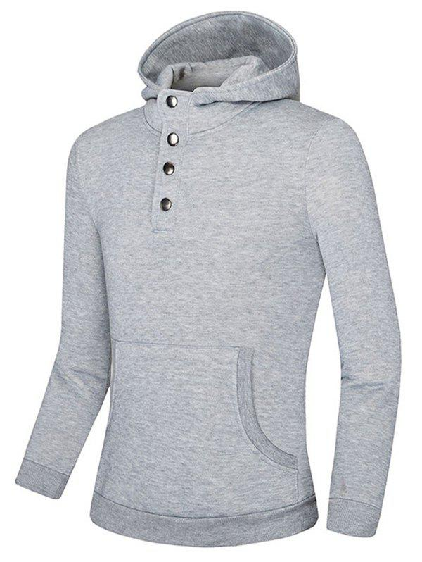 Kangaroo Pocket Snap Button Hoodie - LIGHT GRAY M