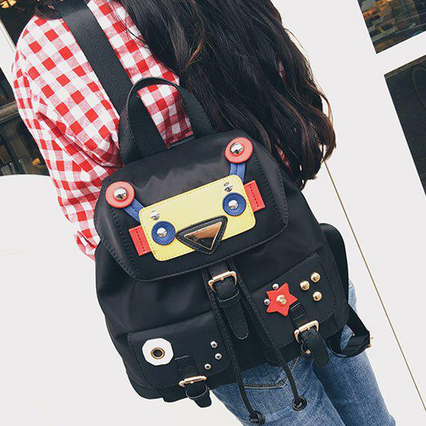 Buckle Straps Nylon Robot Backpack - BLACK