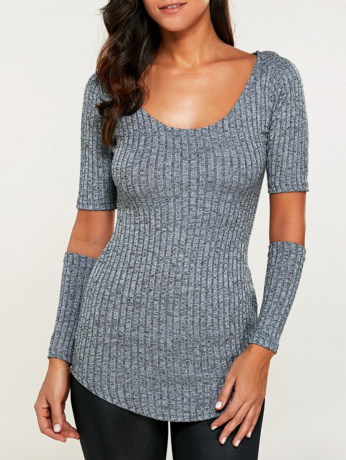 Ribbed Cut Out Heathered Knitwear 196398303