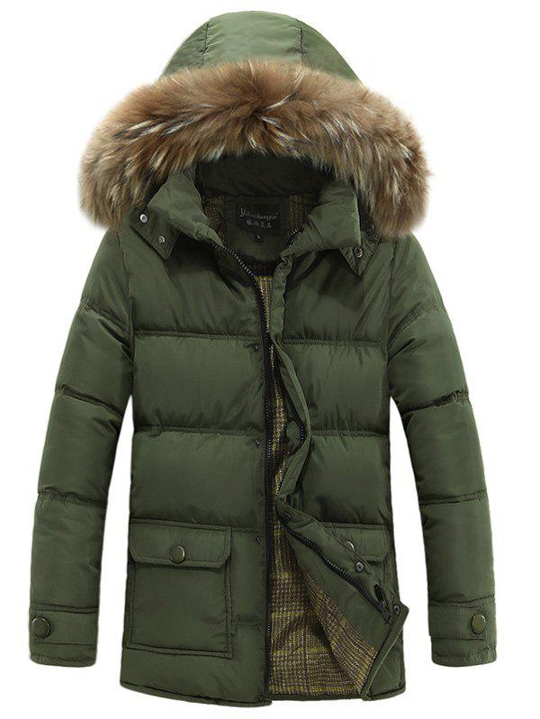 Buy Faux Fur Collar Hooded Lengthen Zip-Up Padded Coat ARMY GREEN