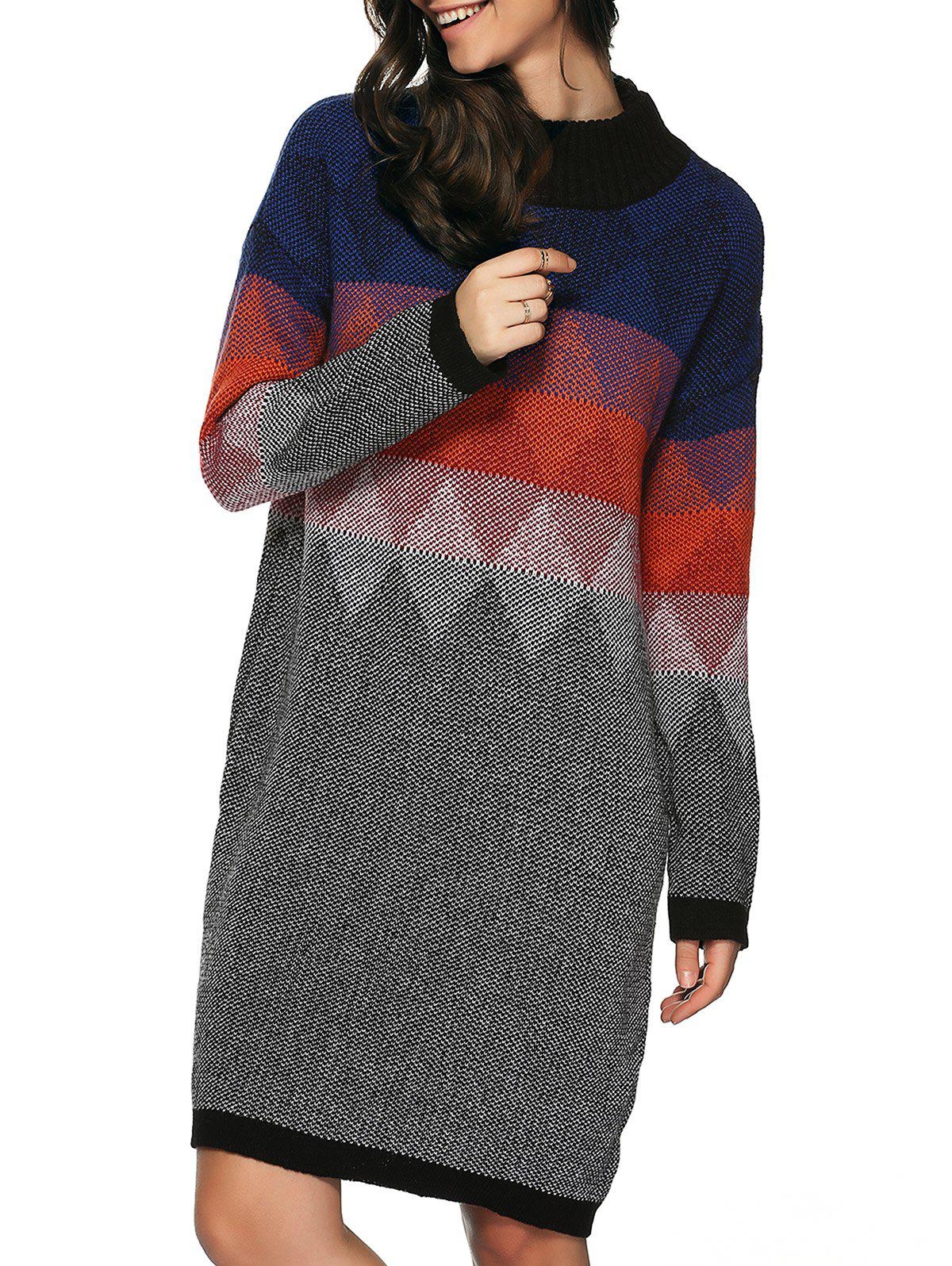 Robe Pull Zigzag Losange Imprimé Tunique en Tricot - multicolore ONE SIZE(FIT SIZE XS TO M)