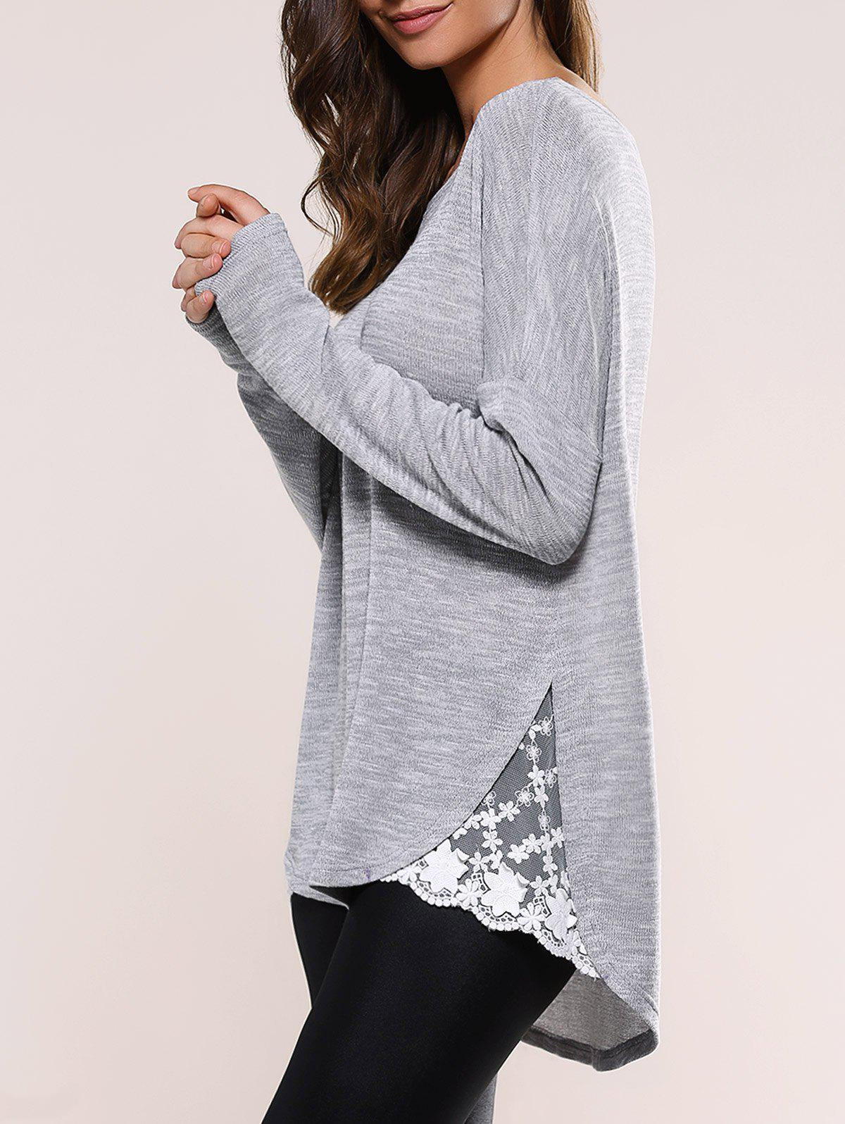 Lace Insert Asymmetric Pullover Long Sleeve Sweater - BLUE GRAY XL