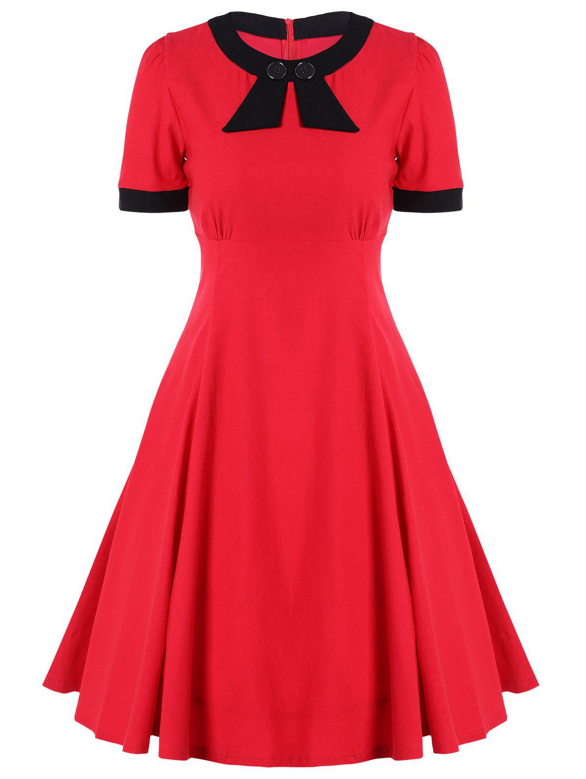 Retro High Waist Buttoned Contrast Color Dress - RED L