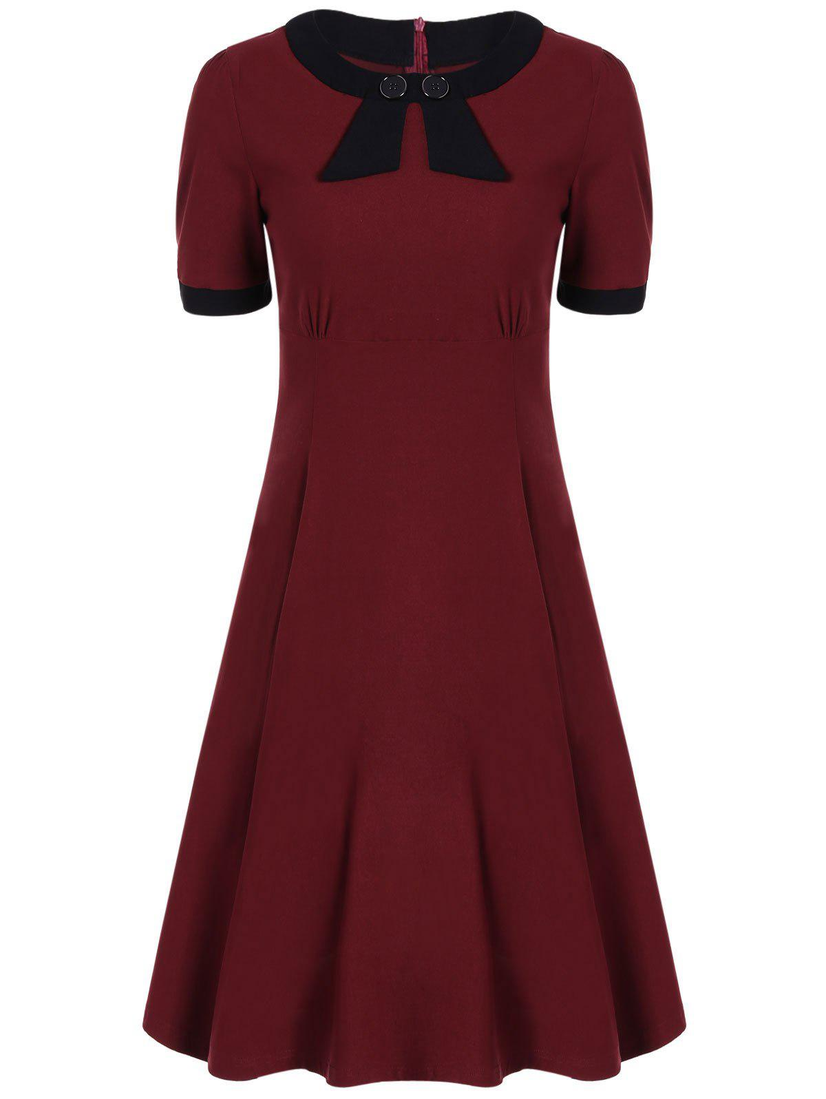 Retro High Waist Buttoned Contrast Color Dress - WINE RED XL