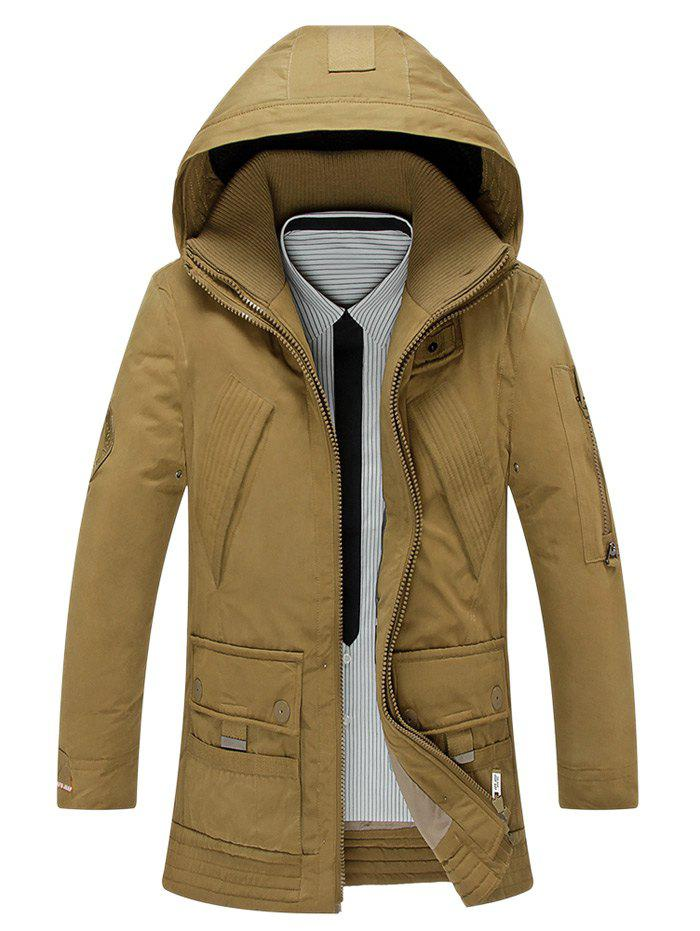 Manteau brodé Allonger capuche Double Zipper Bas - Kaki XL