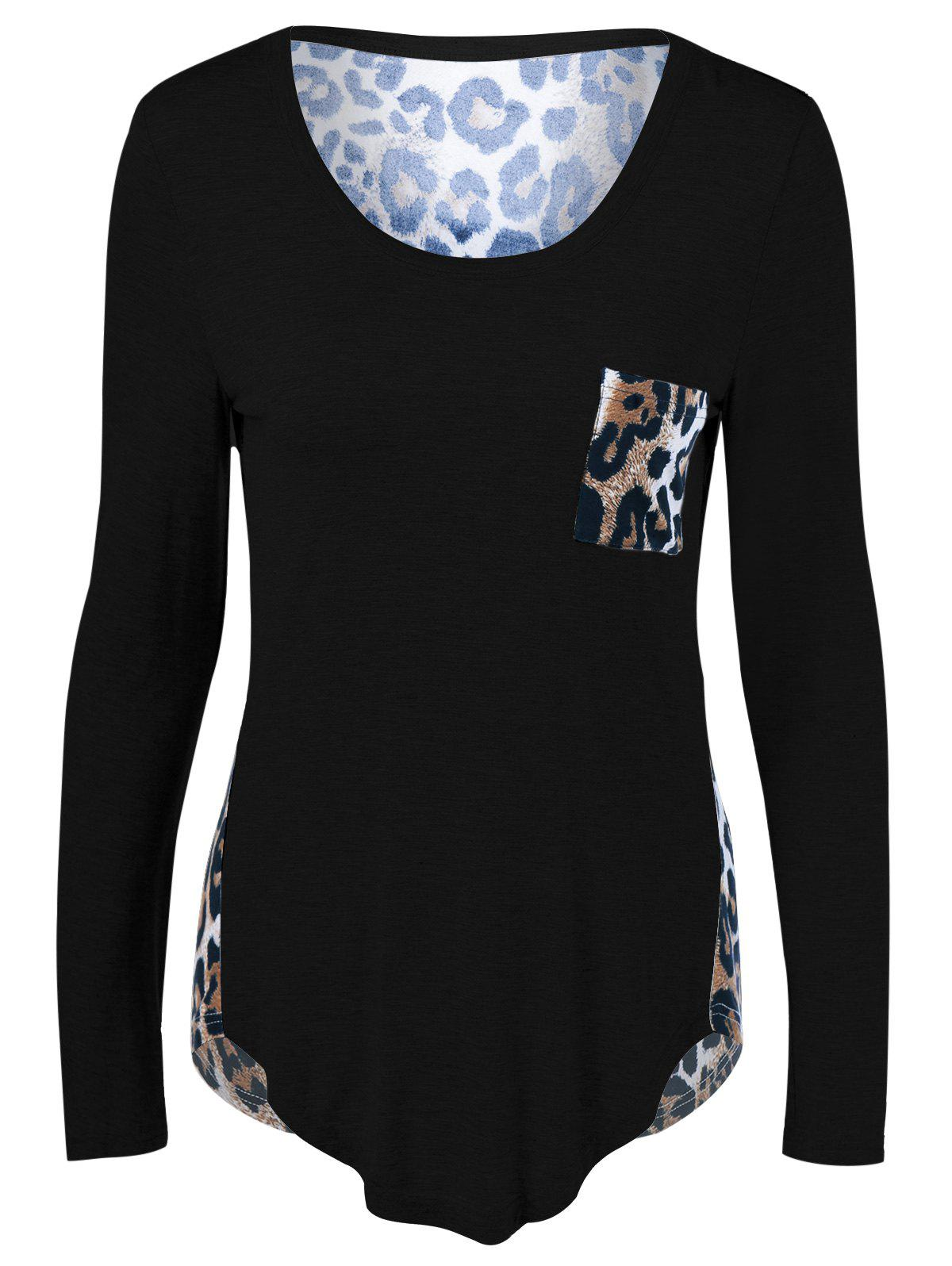 Leopard One Pocket Arc-Shaped Hem T-Shirt - BLACK S