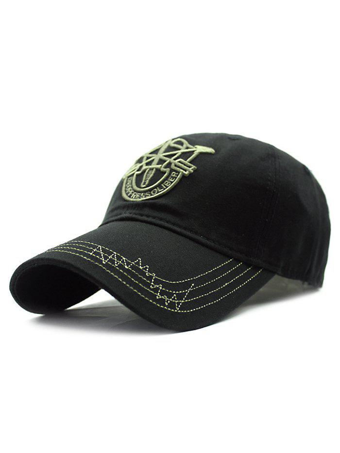 Casual Shield Embroidery Baseball Hat, Black