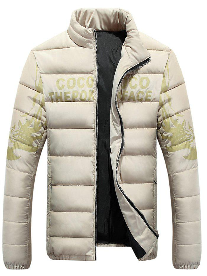 Stands Collar Zip-Up Tiger and Graphic Imprimer Down Jacket - Abricot L