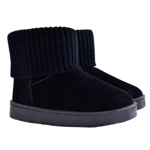 Ribbed Knitted Flock Snow Boots - BLACK 38