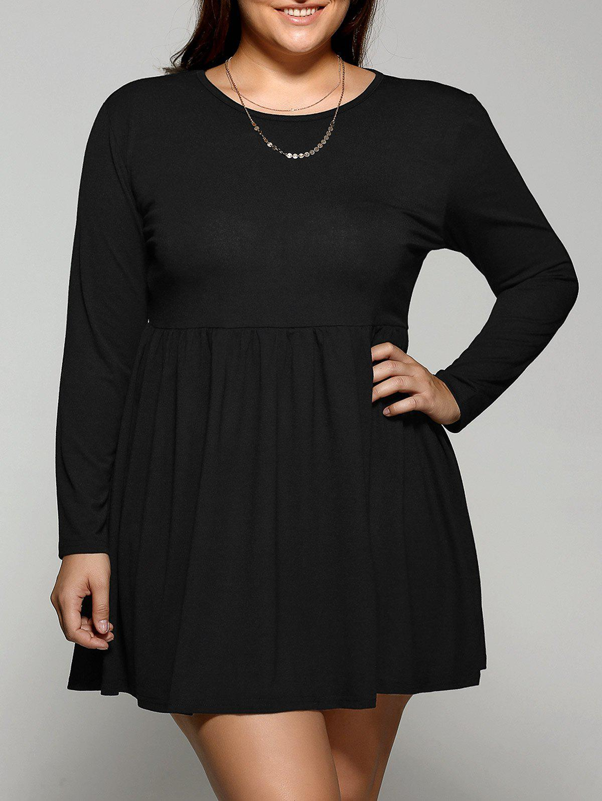 2018 Plus Size Long Sleeve Pleated Mini Skater Dress Black Xl In