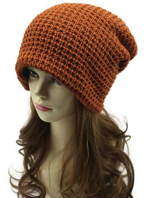 Casual Openwork Weaving Double-Deck Knit Beanie - BROWN