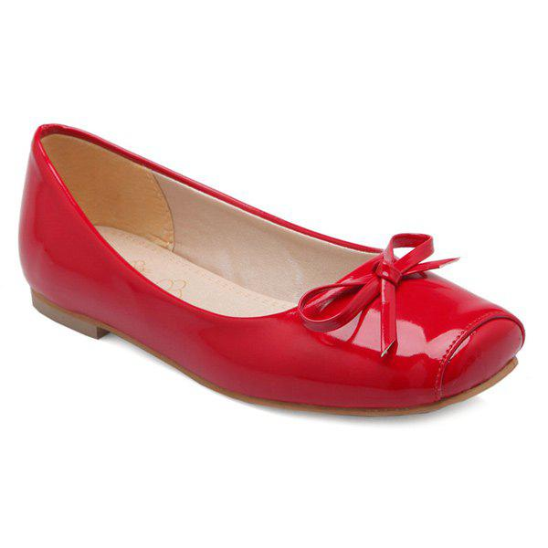 Bowknot Patent Leather Square Toe Flat Shoes - RED 38