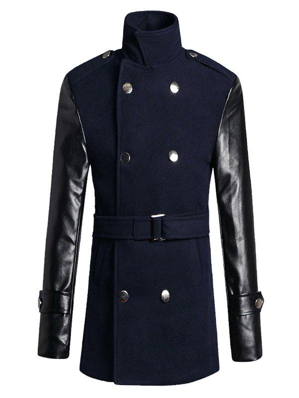 Stand Collar PU Sleeve Wool Blend Trench Coat wool long trench coat