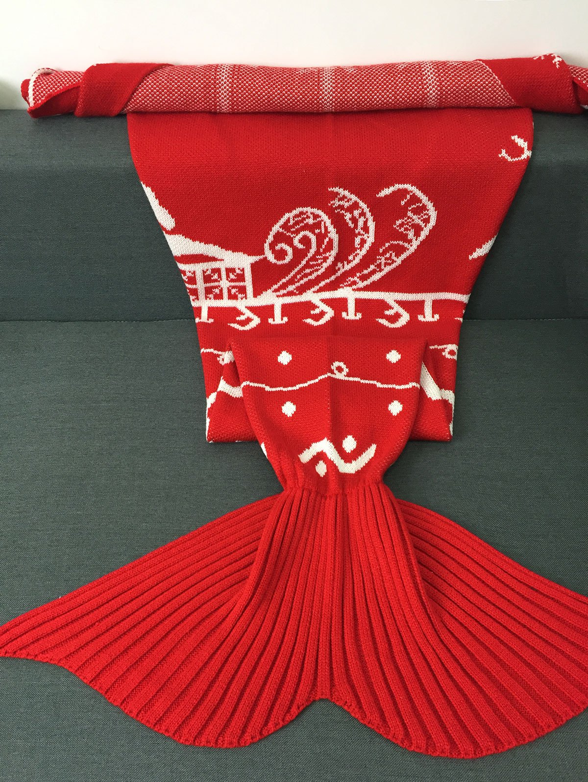 High Quality Knitted Christmas Snows Design Mermaid Tail Blanket - RED