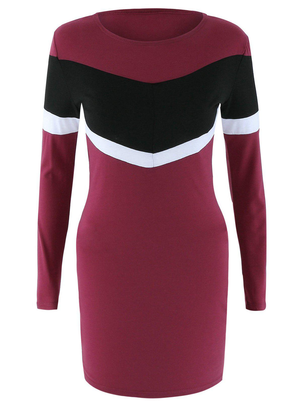 Long Sleeve Color Block Robe moulante - Rouge vineux XL