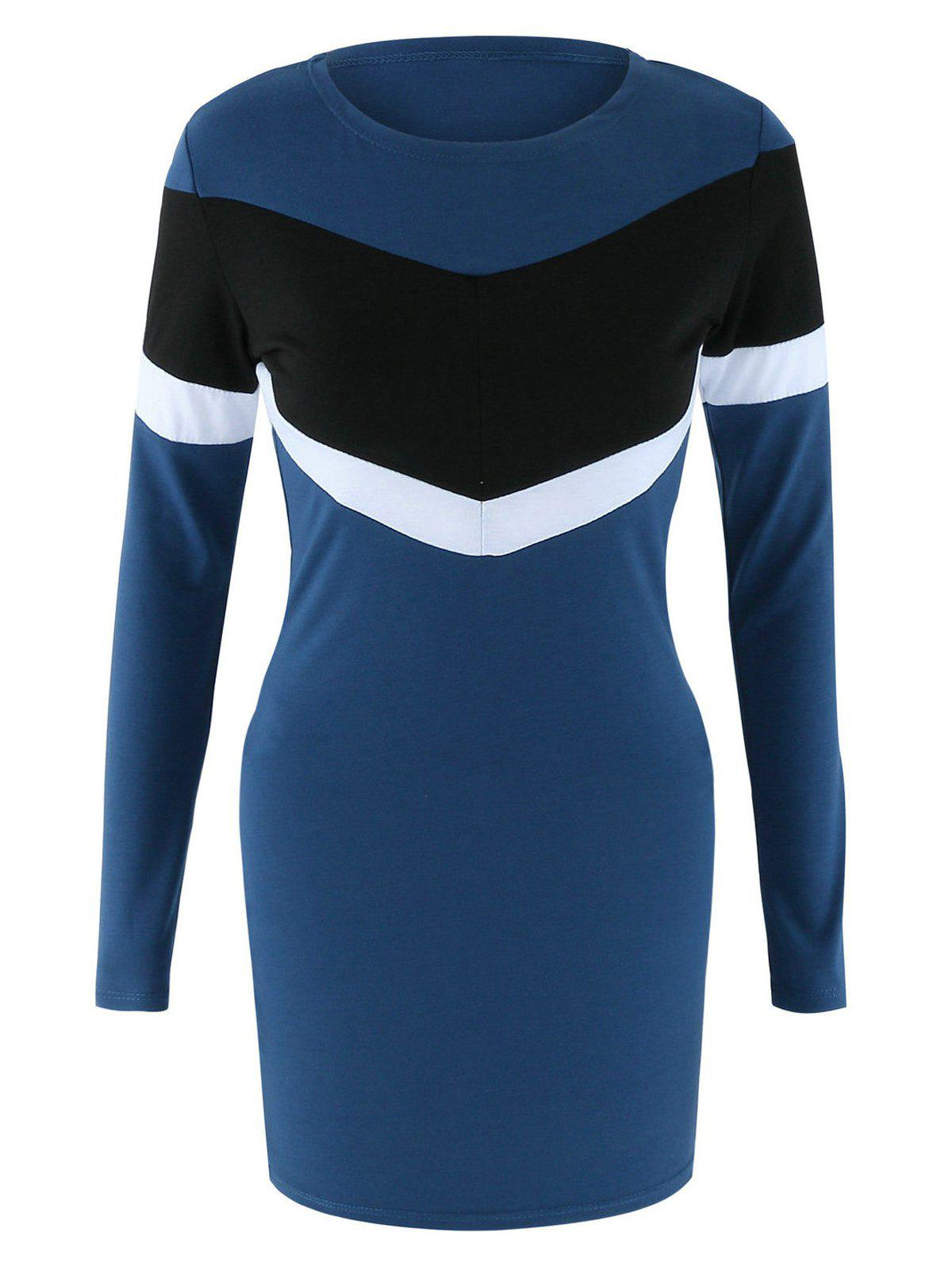 Long Sleeve Color Block Robe moulante - Bleu profond XL