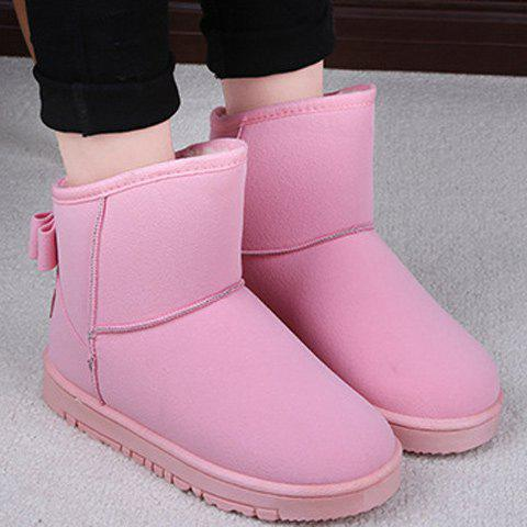 Suede Back Bowknot Snow Boots - PINK 38