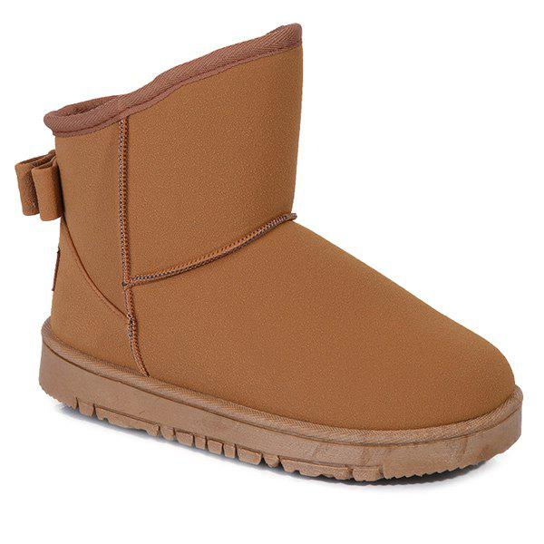 Suede Back Bowknot Snow Boots - BROWN 39