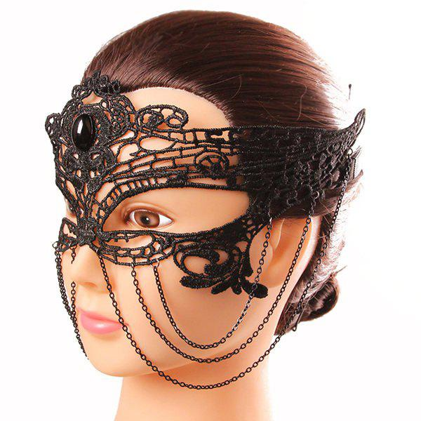 Mystical Half Face Hollow Out Black Lace Chains Masquerade Masks - BLACK