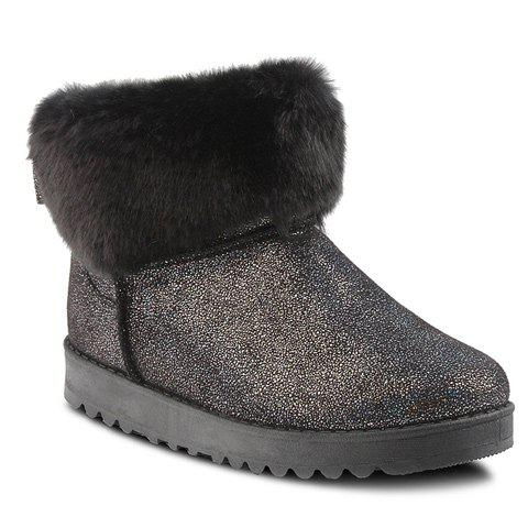Bow Sequin Faux Fur Snow Boots - BLACK 38