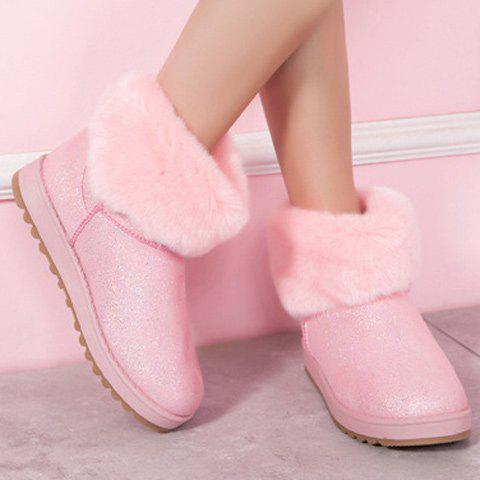 Bow Sequin Faux Fur Snow Boots - PINK 37