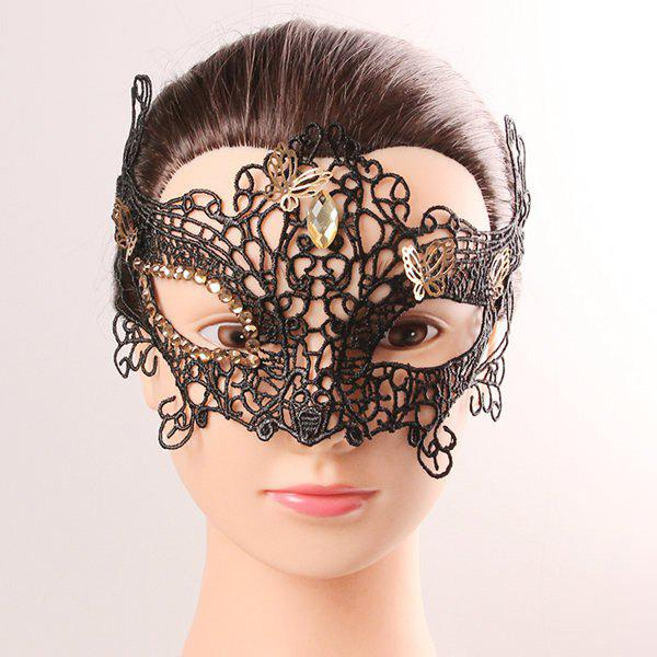 Mystical Half Face Lace Hollow Out Butterfly Rhinestone Masquerade Masks - BLACK