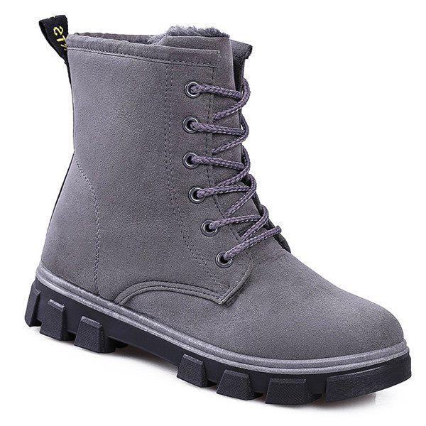 Suede Lace-Up Snow Boots - GRAY 38
