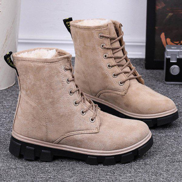 Suede Lace-Up Snow Boots - APRICOT 38