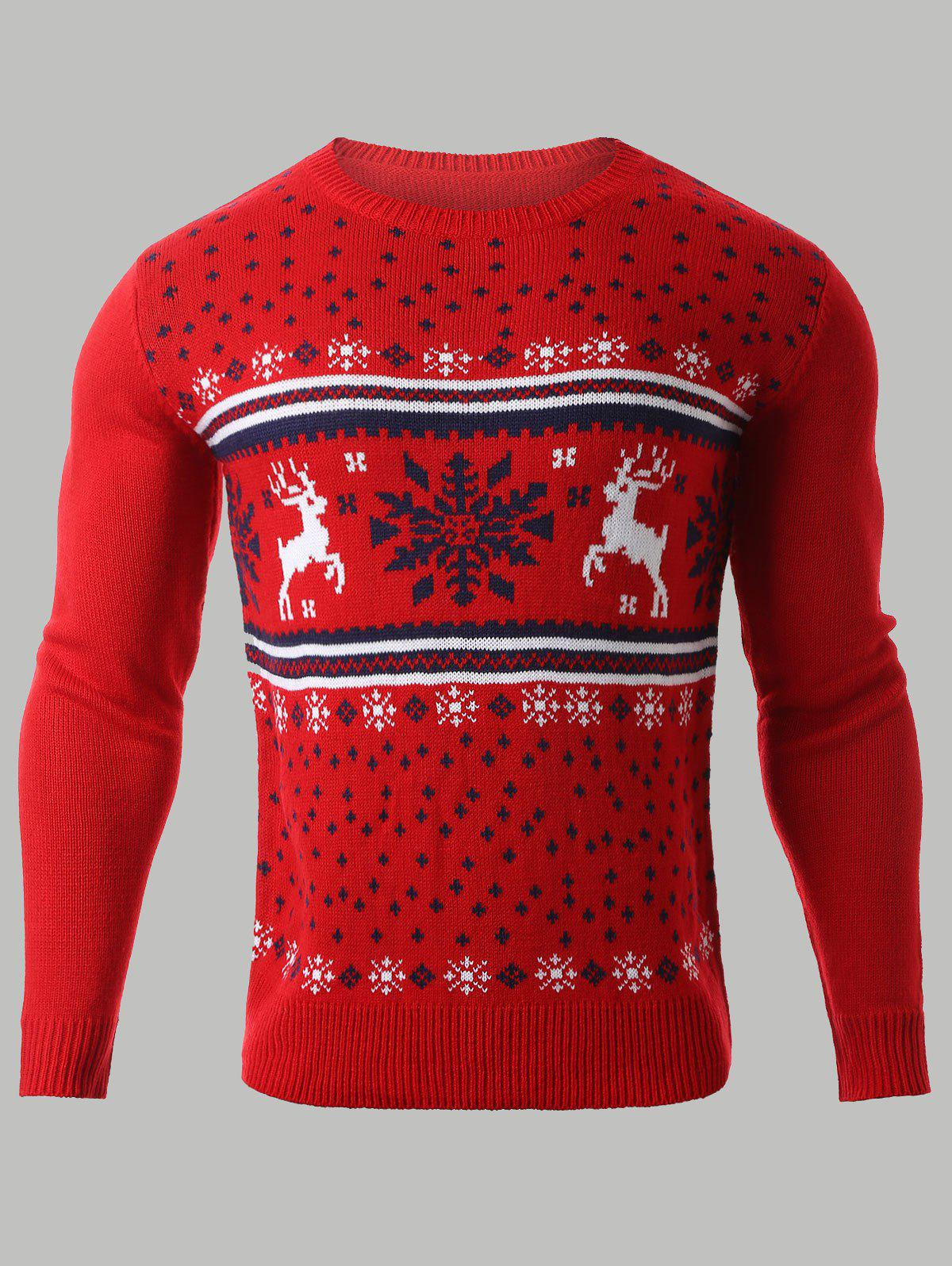 Snowflake Deer Jacquard Christmas Sweater, RED, M in Cardigans ...