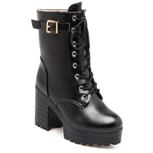 Buckle Chunky Heel PU Leather Lace-Up Boots
