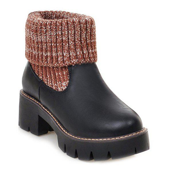 Plate-forme Splicing Knitting Bottes - Noir 38