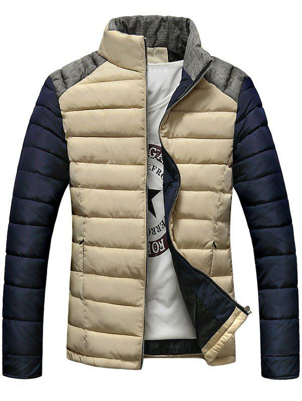 Stand Collar Zip-Up Color Block Splicing Design Down Jacket 196440703