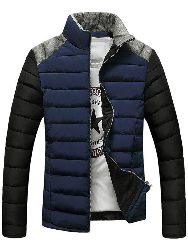 Pied de col Zip-Up Color Block Splicing design Down Jacket - Bleu Cadette M