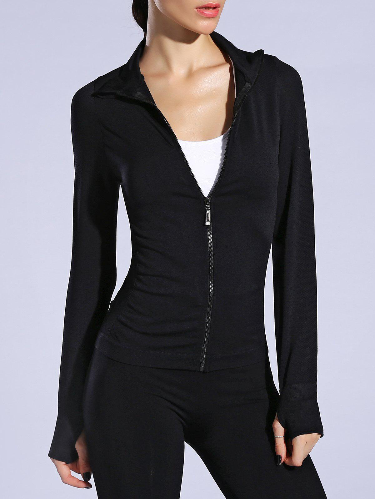 Zip Up Slimming Sporty Running Jacket - BLACK M