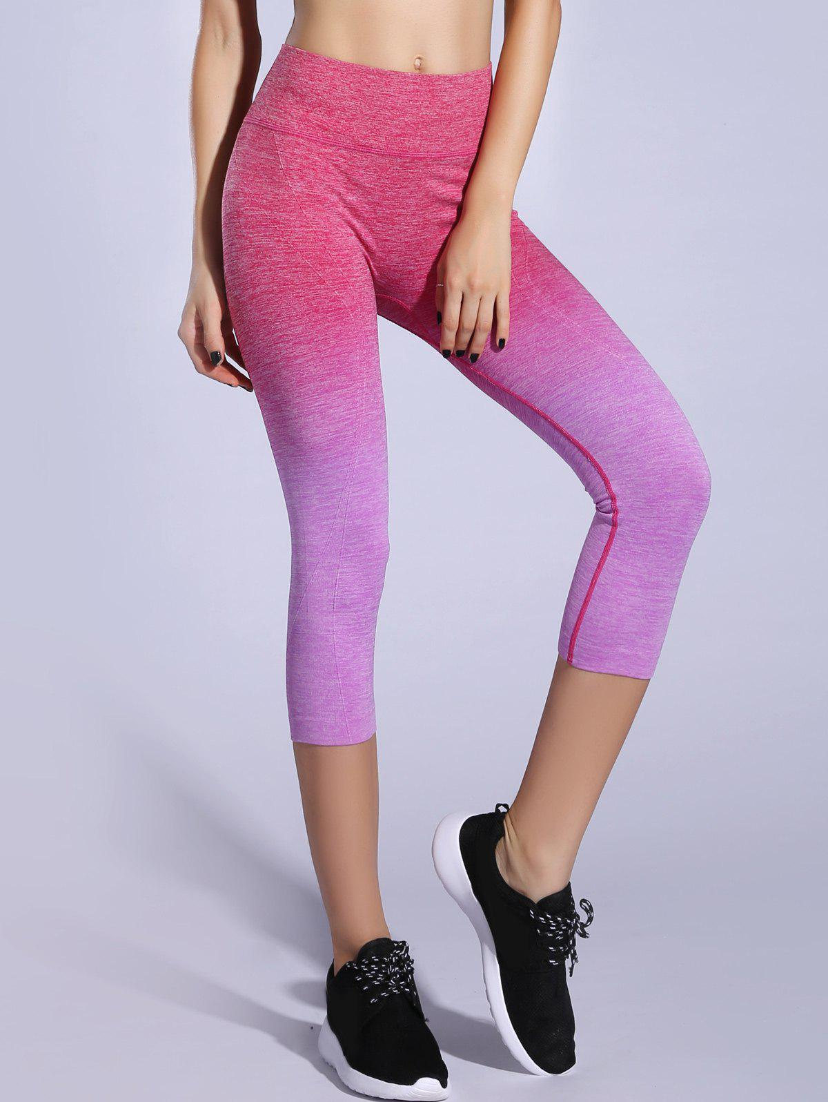 Extensible Ombre Space-Dyed Sporty Leggings - Violet Clair M