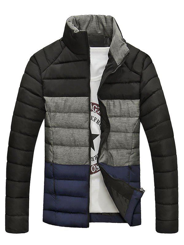 Pied de col Zip-Up Color Block Spliced ​​design Down Jacket - Noir M