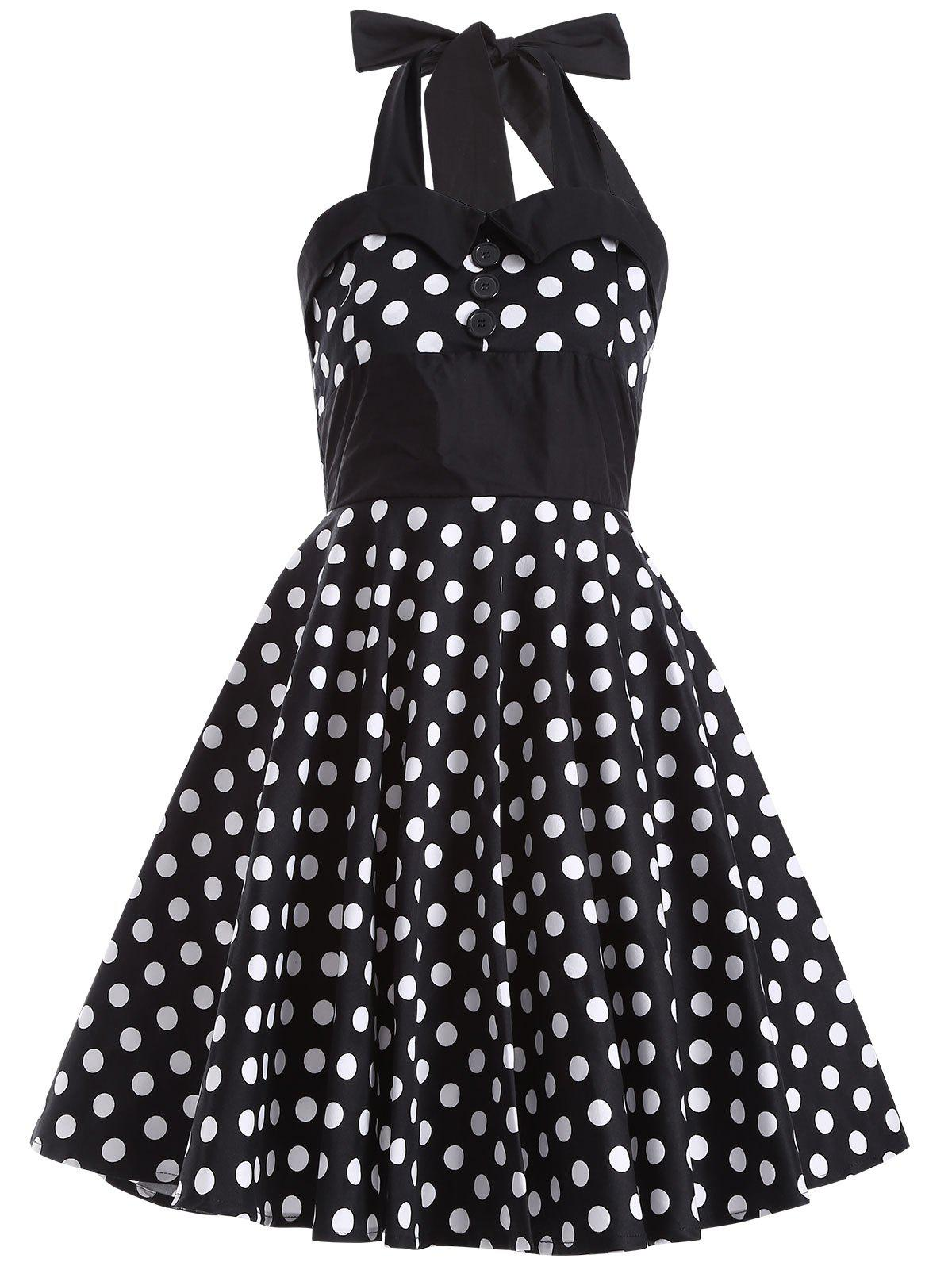 Polka Dot Halter Retro Swing Fit and Flare Dress - BLACK XL